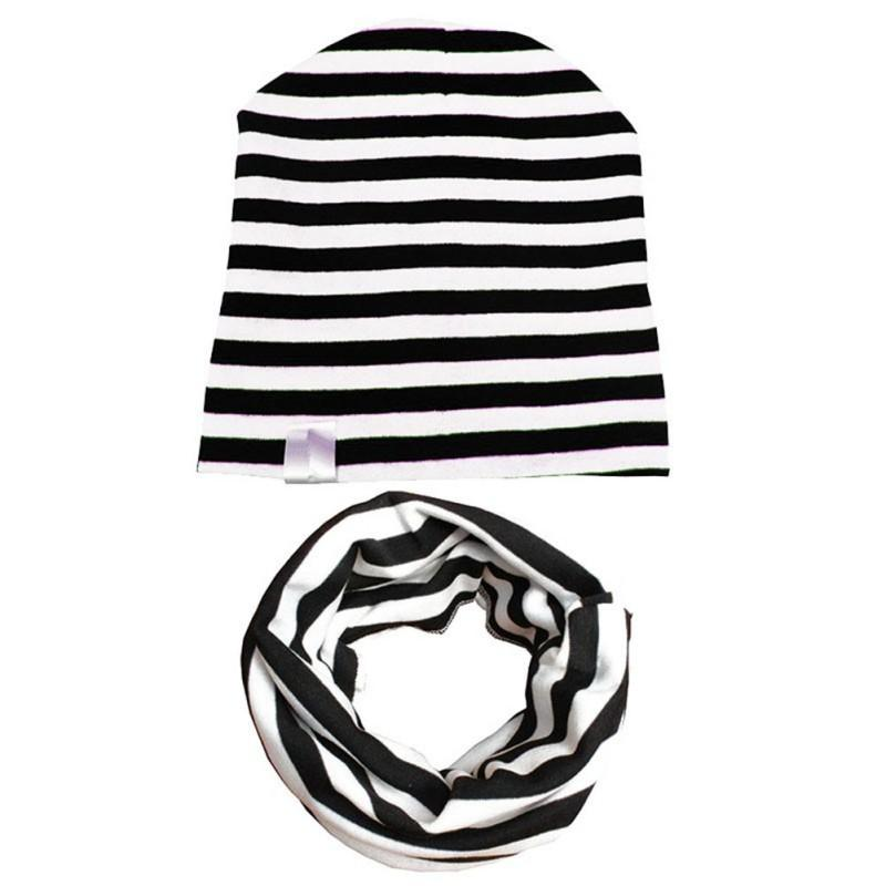 2019  Sets Cute Baby Warm Cap Scarf Kids Girls Boys Winter Cotton Hats  Knitted Black White Striped Spring Hat Scarf M1 From Babymom 48fe280f189