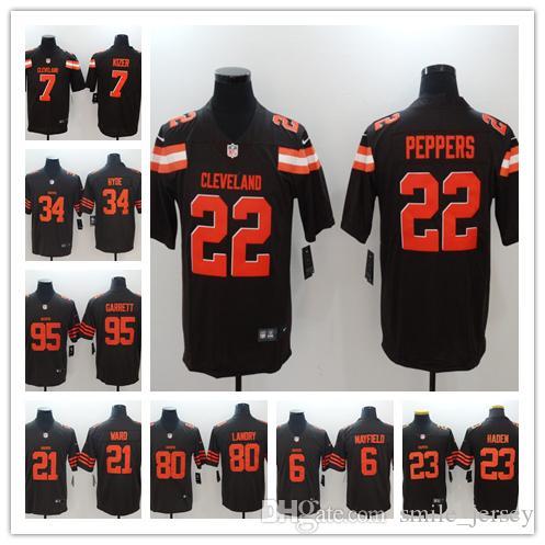 c5e39689 2019 Mens Cleveland Jersey Browns Football Jersey 23 Damarious Randall 6  Brian Hoyer 7 DeShone Kizer 22 Peppers 95 Garrett 80 Landry Jersey
