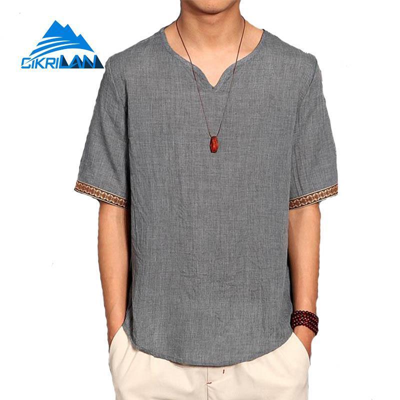 490bd466a5895 2019 New Mens Summer Linen V Neck Short Sleeve T Shirt Outdoor Sport  Climbing Camping Hiking T Shirt Men Loose Fit Fishing T Shirts From Jaokui,  ...