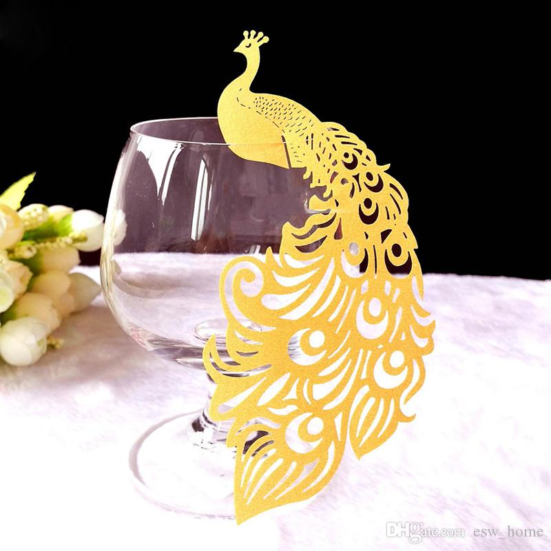 Peacock Card Party Supplies Wine Glass Cards Wedding Decoration Laser Cut Escort Cup Tricks Craft Table Decor Baby Shower Strawberry Shortcake