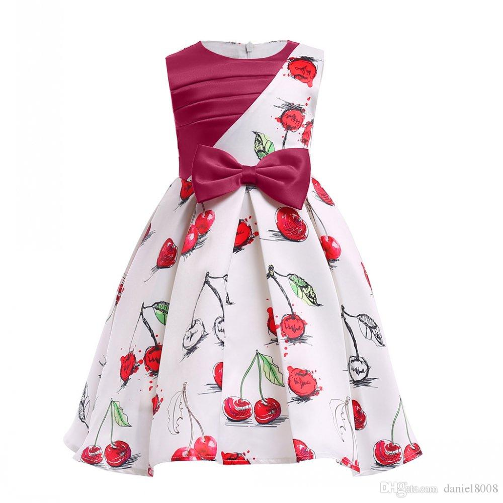 New Summer European & American Style sleeveless Girls cherry printed dress Formal evening dress for children Ball Gown 3-10 Y