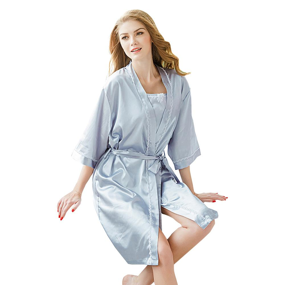 6c781ecacaff 2019 New Women Pajamas Set 3 4 Sleeve Robe Tank Top Shorts Loose Fiing  Kimono Three Piece Set Sleepwear Clothes Sets Grey Fashion From Lucycloth