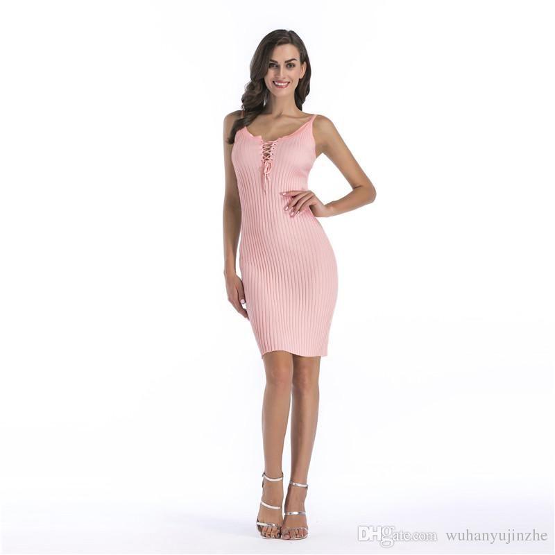 2018 Summer Women Deep Sexy Bodycon Dress V-Neck Soloid Casual Style ... d21d58c75