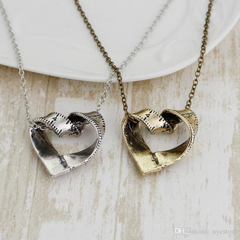 Creative Heart-shaped Ruler Necklace Gold Silver Tone Ruler Connector Charm Pendant Necklace for Women Men Jewelry Gift For Teacher