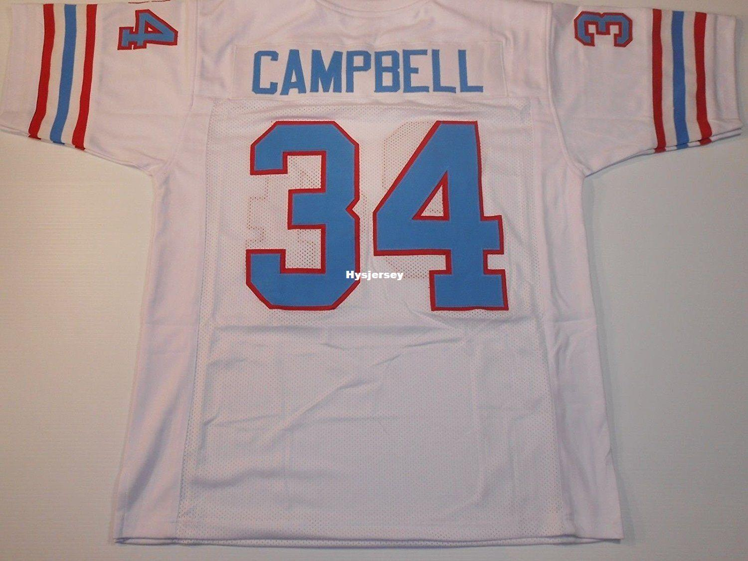 quality design 2ce65 7b84a Cheap Retro custom Sewn Stitched #34 Earl Campbell White MITCHELL & NESS  Jersey Throwbacks Men s Football Jerseys