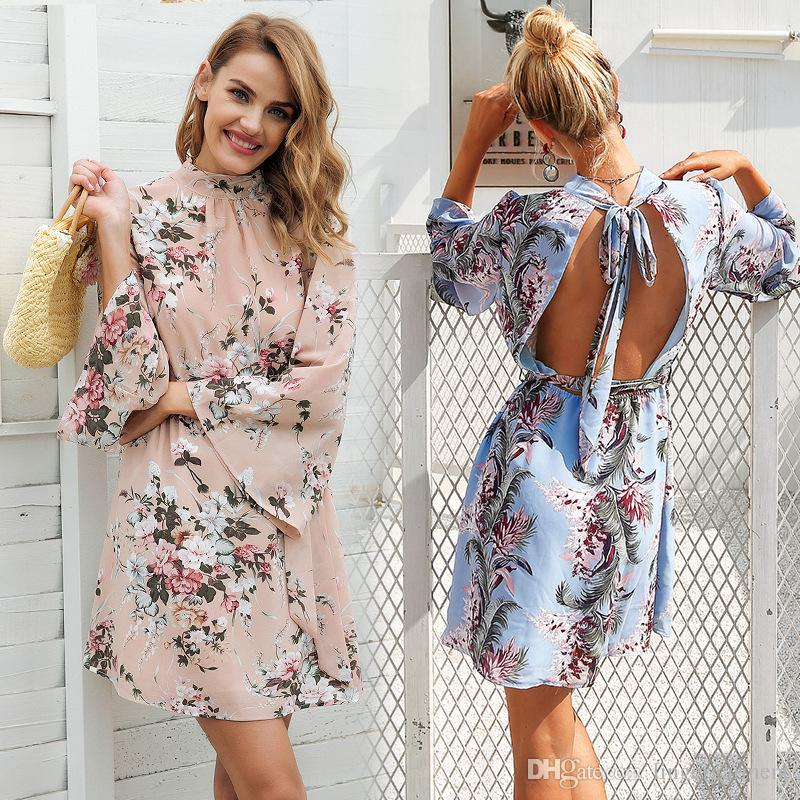 578d0ed25354 Hot Selling Fashion Women Chiffon Floral Dress Casual Summer Autumn ...