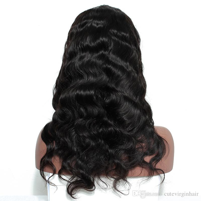 Pre cuerda pulsada la onda del cuerpo pelucas delanteras del cordón con el pelo del bebé delantero peruano brasileña de Malasia peluca del pelo humano para las mujeres Negro rayita natural