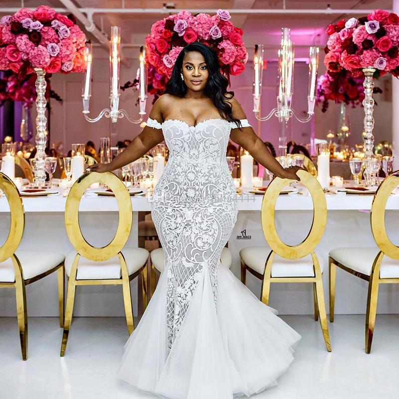 Robes De Mariée Sirène 2019 Modeste Plus La Taille De L'épaule Trompette Robes De Mariée Balayage Train Tulle Dentelle Robe De Mariage Africain Custom Made