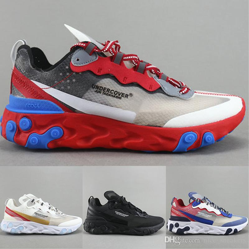 5b08f5840d919 Epic React Element 87 Undercover Running Shoes Mens Designer Black White  Gold Blue Breathable Men Women Casual Sports Sneakers Size 36 45 Cheap Shoes  Men ...