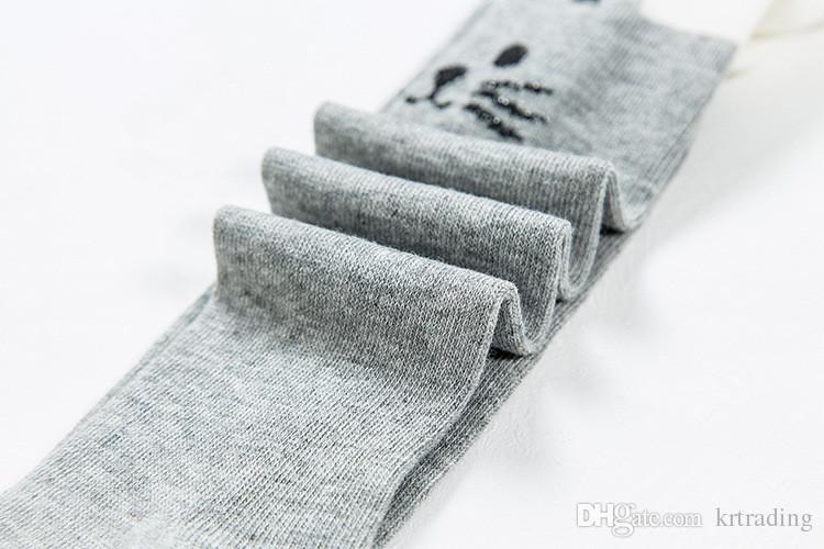Niñas lindas modelos de gato de algodón leggings 5 colores para niños pequeños de 0-4 T empalme de color gato pantimedias bebé cálido animal medias primavera otoño