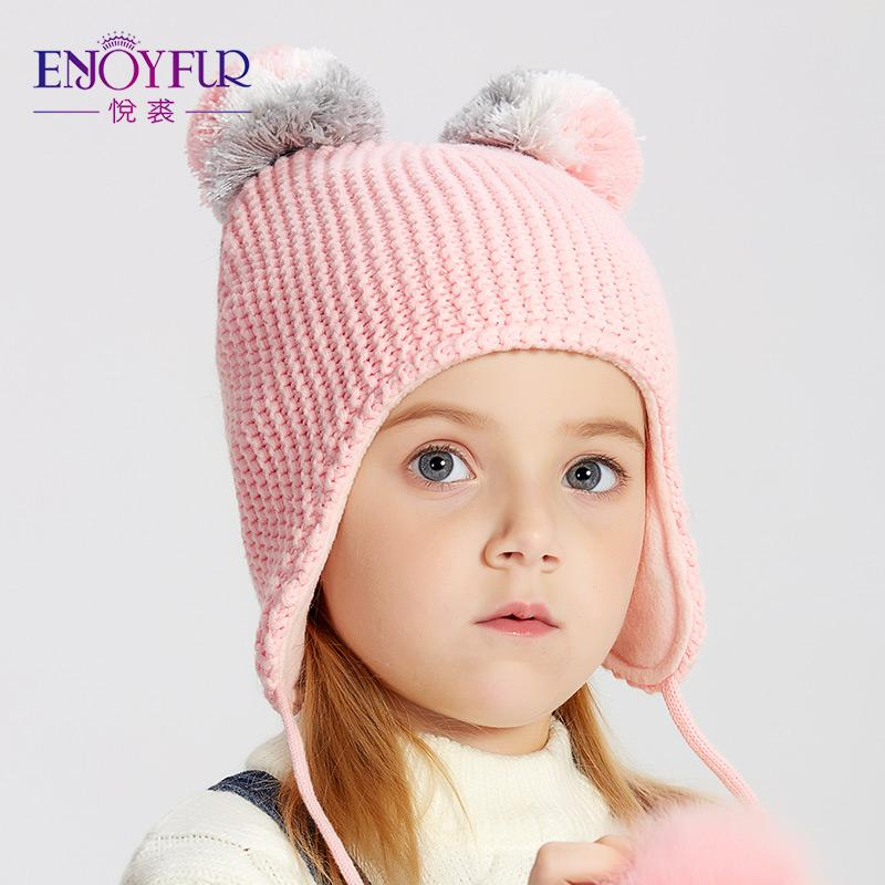 Compre Disfrutar De Invierno Fox Fur Pompom Niños Sombreros Para Niñas Niños  Niños Algodón Pompom Caps 2018 Nuevo Otoño Cálido Punto Orejas Gorros A   43.63 ... 3d077842108