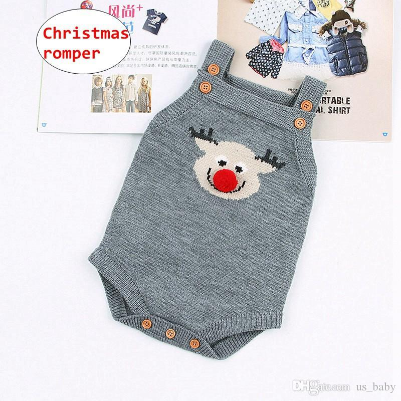 ce51e41969ac 2019 INS Cartoon Deer Christmas Jumpsuit Baby Boy Girl Knitted ...