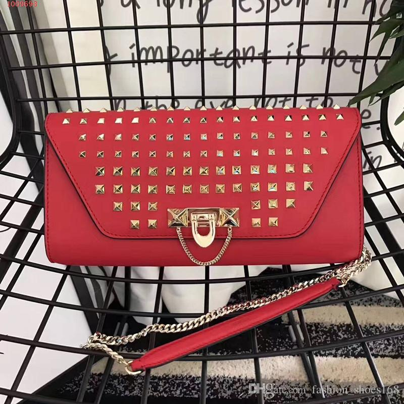 !High-end custom luxury Genuine Leather fashion women Rivets Chains Hasp shoulder bags \Fashion Handags\Wallet Picture color