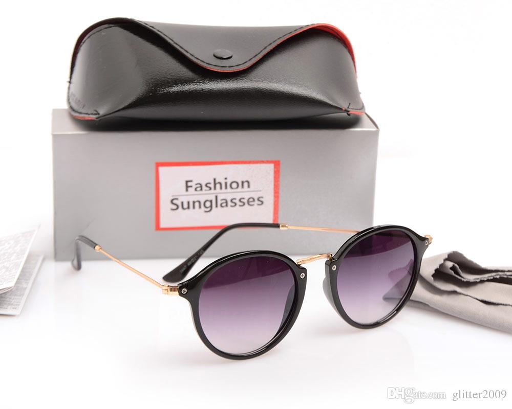 New Arrival Sun glasses 브랜드 디자이너 Retro Eyewear 2447 스타일 Round gradient mirror 선글라스 케이스 및 박스가 포함 된 Unisex Acetate Plate Lens