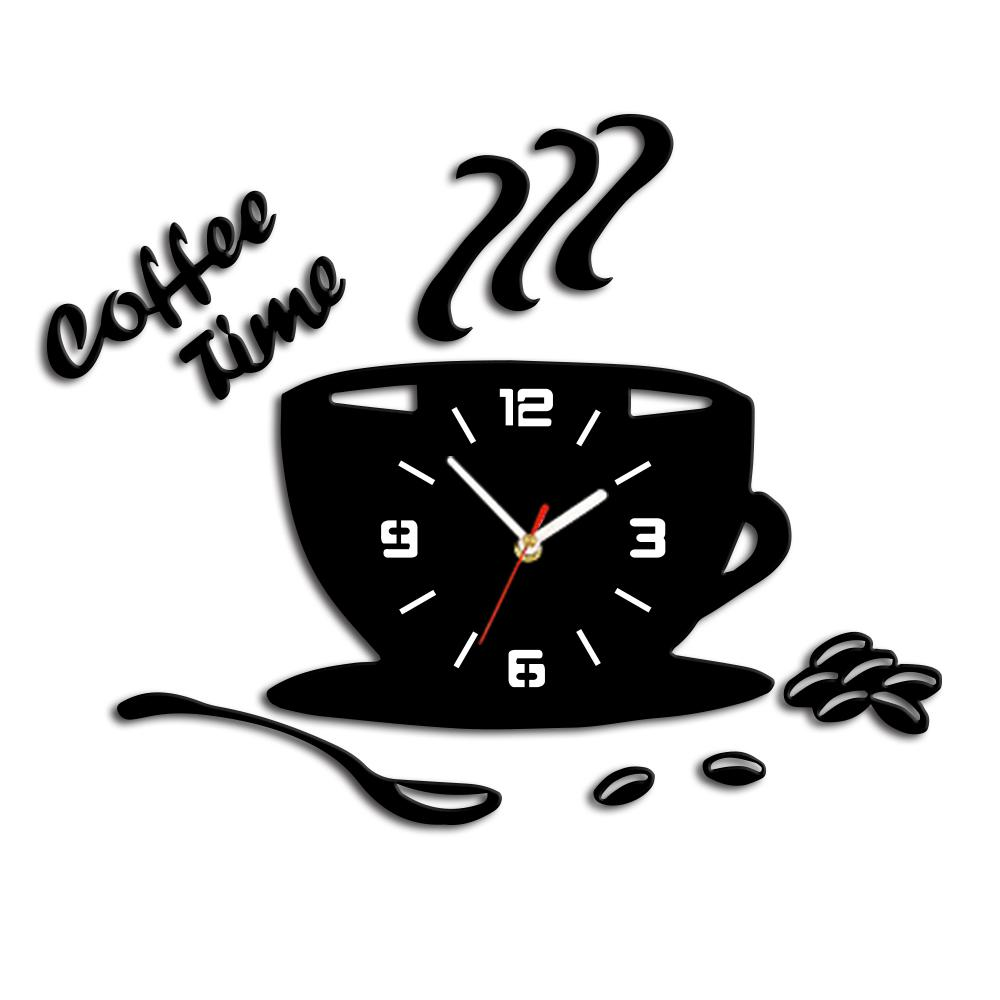 Beau 3D DIY Acrylic Kitchen Wall Clock Modern Coffee Time Clock Sticker Cup  Shape Wall Decor Hollow Numeral Home Decor Cheap Wall Clock Online Cheap  Wall Clocks ...