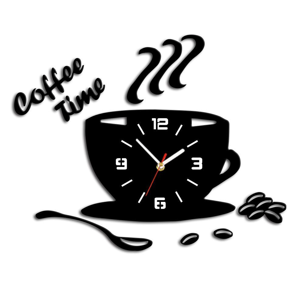3D fai da te acrilico orologio da parete cucina moderna orologio tempo  caffè adesivo Cup forma Wall Decor Hollow Numer Home Decor