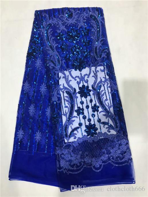 2018 de Alta Calidad Africana Tela de Encaje Neto de Tul Negro negro Nuevo Encaje Nigeriano Para Vestido de Novia Tela de Encaje de Lentejuelas l5-1
