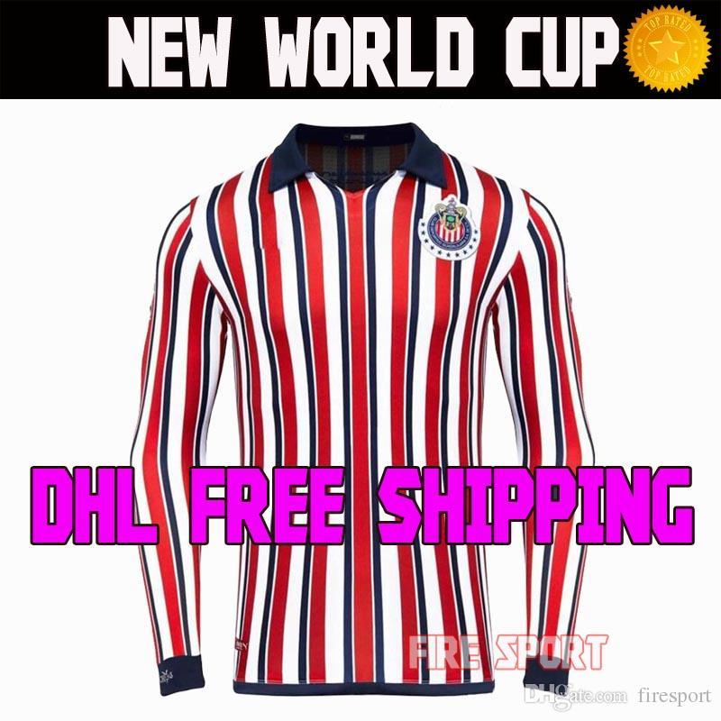 5b95cee00 DHL Envío Gratis Chivas De Guadalajara Copa Mundial De Fútbol Jerseys Retro 110  Años LIGA MX 2018 2019 Manga Larga 18 19 Camisetas De Fútbol Por Firesport