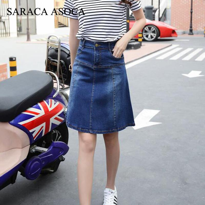 b6711e4da4 2019 New Arrival Plus Size XS To 7XL Pockets Jeans Pleated Skirts Women  Fashion A Line High Waist Knee Length Denim Skirts For Girls From Felix06,  ...