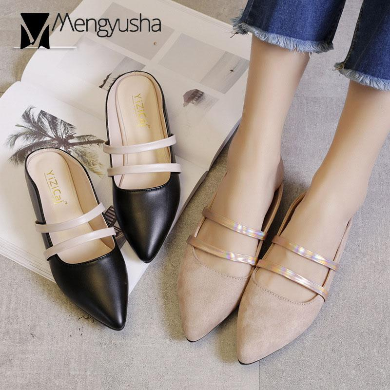 1342393450 Double Leather Narrow Band Slippers Women Pointed Toe Pu/Suede Flats Sandals  Women Mules Flip Flops Roma Sandalias Mujer C768 High Heel Shoes Wholesale  ...