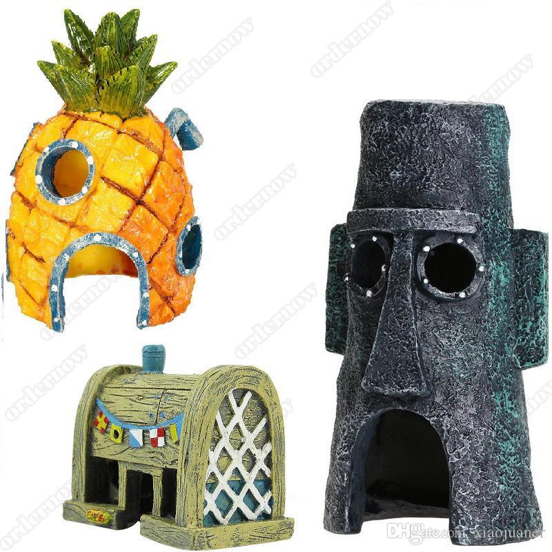 vente en gros Mini Aquarium House ananas Cartoon House Accueil Fish Tank décorations d'aquarium Aménagement paysager résine ornements décorations d'aquarium