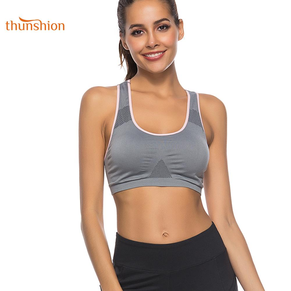 e9ca66f9907c 2019 THUNSHION New Anti Sweat Women Sports Running Bra Quick Dry Fitness  Top Crop For Gym Yoga Workout Bra Seamless Underwear Vest From Stem, ...