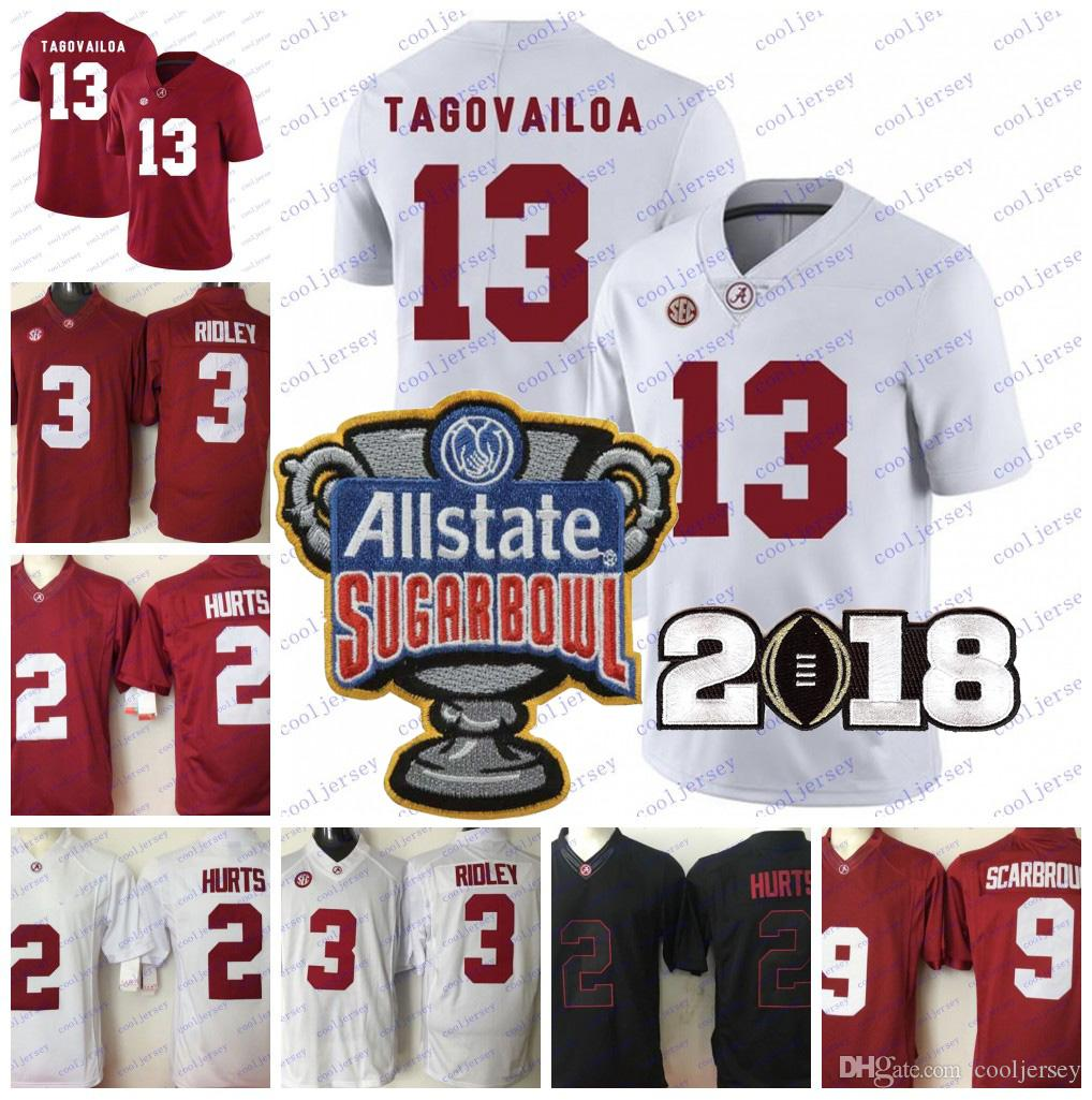 f691572c4 2019 NCAA Alabama Crimson Tide 13 Tua Tagovailoa 2 Jalen Hurts 3 Ridley 29  Fitzpatrick 9 Scarbrough 2018 Championship Football Jersey Bowl Patch From  ...