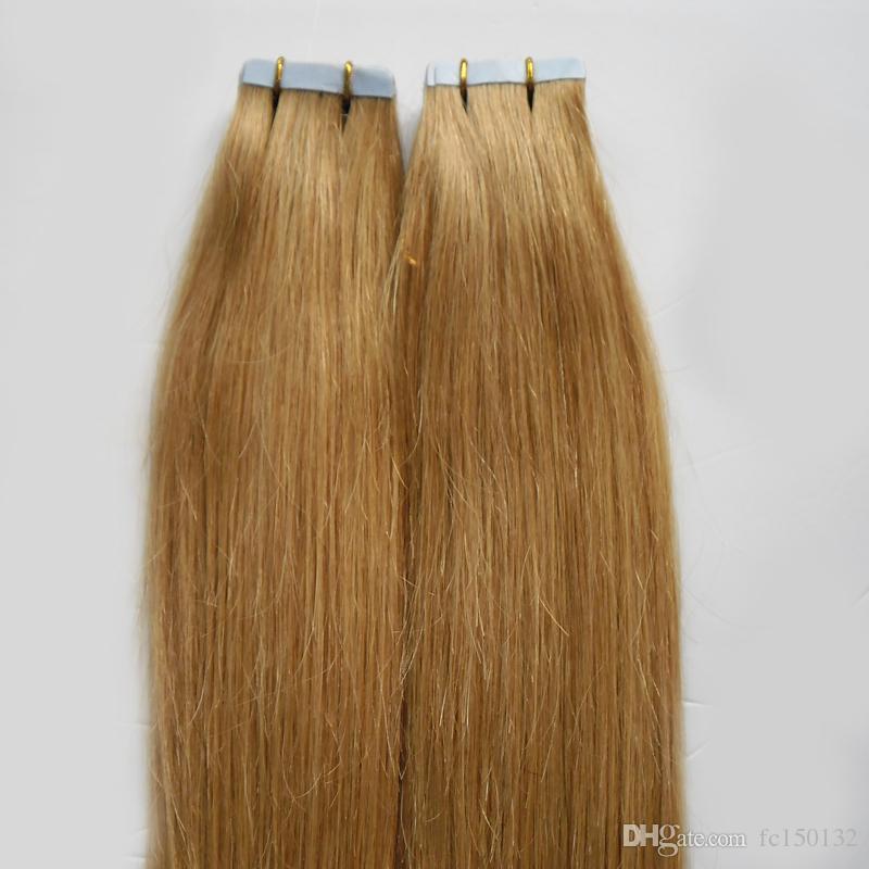 Loira Brasileira Fita de Cabelo Em Extensões Do Cabelo Humano Em Linha Reta 100g 40 pçs / set mel loira pele trama extensões de cabelo fita 4b 4c