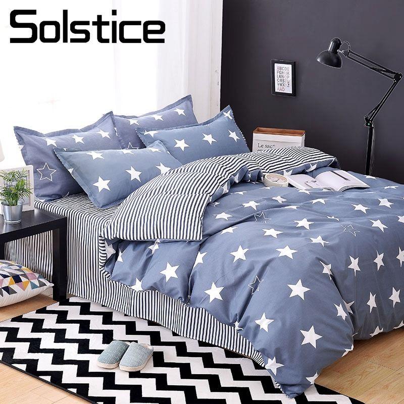 Solstice Home Textile Child Teen Boy Bedding Set Blue Stripe Star Duvet  Quilt Cover Pillow Case Sheet Girl Adult Bed Linens Suit Custom Duvet  Covers Satin ...