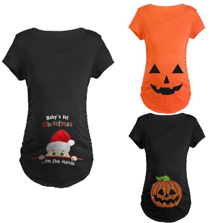 f93ff34b8c957 2019 Long Style Short Sleeve Pregnancy Women T Shirt Halloween Pumpkin  Christmas Fancy Costumes Pregnant Maternity Clothing From Ouronlinelife, ...