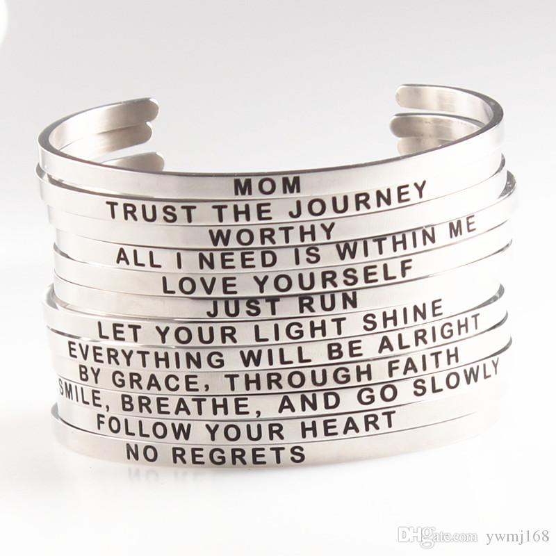 Hot sale Silver Stainless Steel Engraved LOVE YOURSELF Positive Inspirational Hand Stamped Cuff Bracelet Bangle For Women Best Gifts
