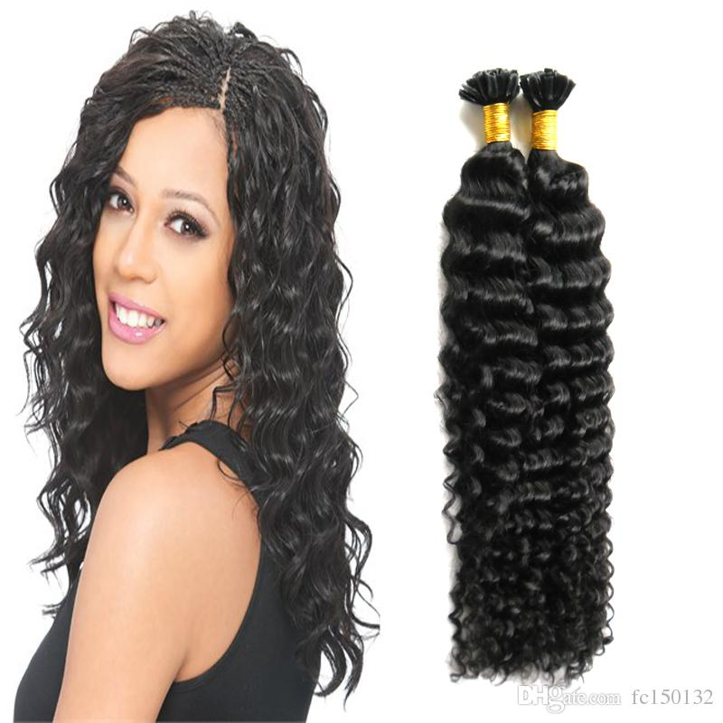 #1 Jet black Keratin Stick U Tip Hair Extensions Human 100g/strands fusion keratin hair extension Deep Wave the hair to increase capsule