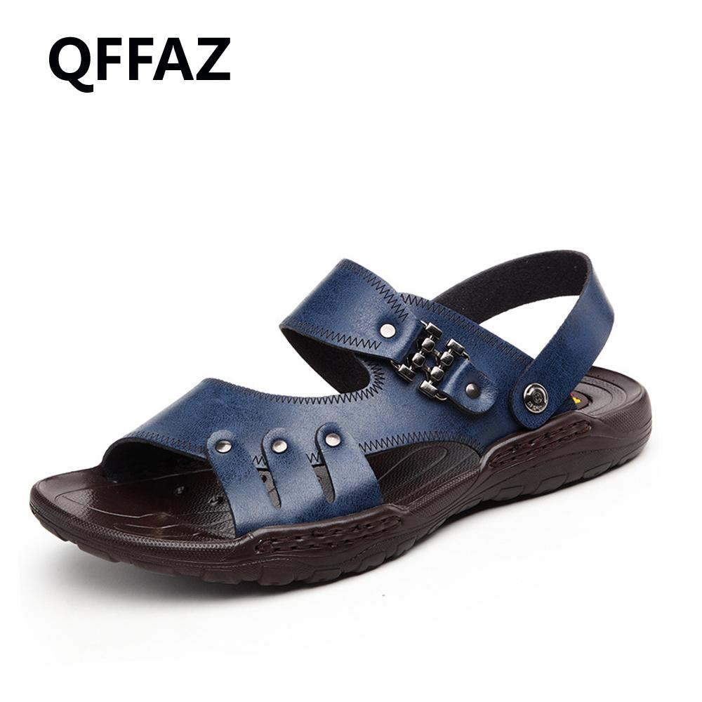 e7ba4586671e QFFAZ 2018 New Summer Men s Fashion Sandals Men Leather Leisure Slippers  Beach Shoes Men s Outdoor Sandals Green Shoes Shoe Shop From Lbdshoes