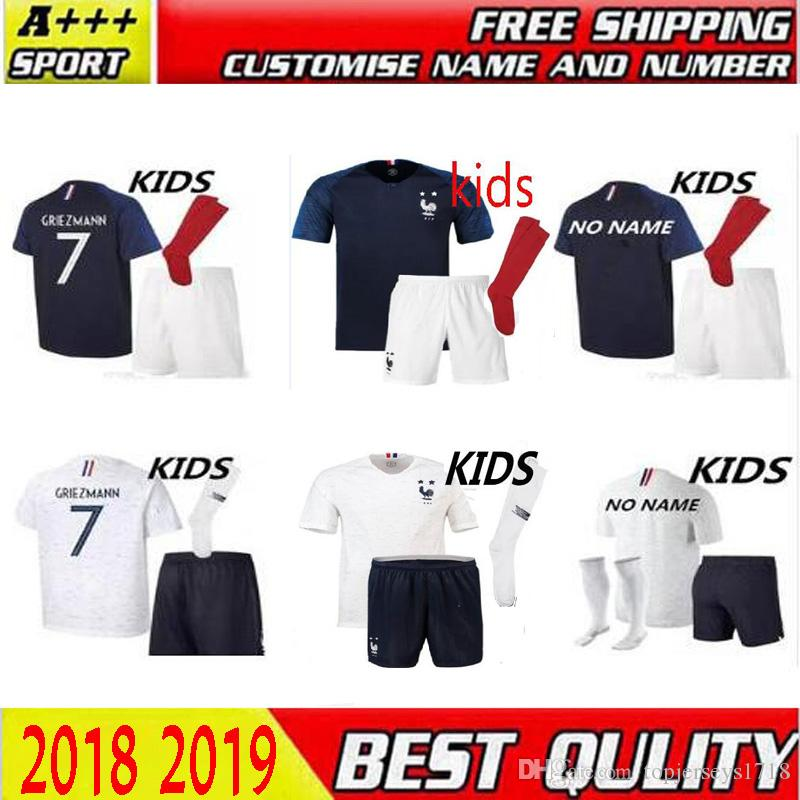 1902bc24c 2019 New 2018 French Kids Jerseys GRIEZMANN MBAPPE POGBA DEMBELE Football  Shirts 18 19 Franch National Team Home Away GIROUD Maillot De Foot From ...
