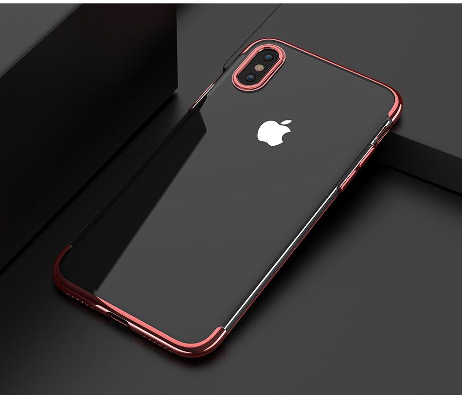 Custodie in TPU placcato di lusso iPhone X Cover in silicone ultra sottile trasparente iPhone 8 7 6 6S Plus Accessori telefoni