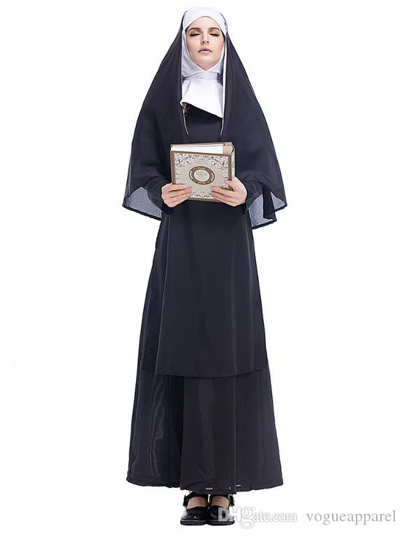 Halloween Costume Clothes For Adults Christian Nun Cosplay Black