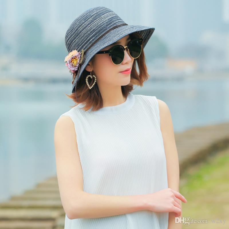 d484c050 2018 New Korean All Match Fashion Wide Brim Hat Sunscreen Flowers Foldable  Women Straw Sunhat Beach Hat Beanie Hats Winter Hats From W2xy, $9.33|  DHgate.Com