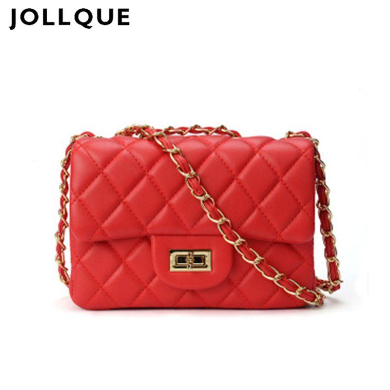 164ed85d89 Jollque Black Women Shoulder Bag Female Crossbody Chain Bag Plaid Handbag  Quilted Sac A Main Femme PU Leather Messenger Leather Handbag Branded  Handbags ...