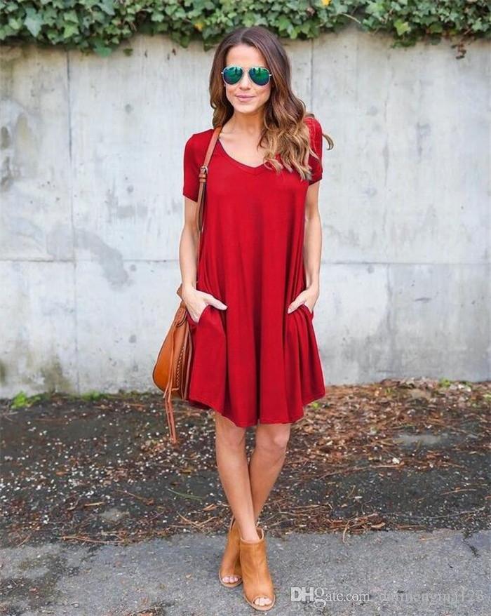 Casual Pockets Loose Boho Dress Fashion Women V Neck Short Sleeve Summer Autumn Cozy Mini Robe M174