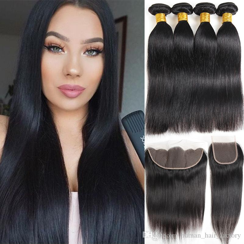 10a Natural Black Brazilian Virgin Hair Straight 4 Bundles With Lace Closure Brazilian Human Hair Bundles With Frontal