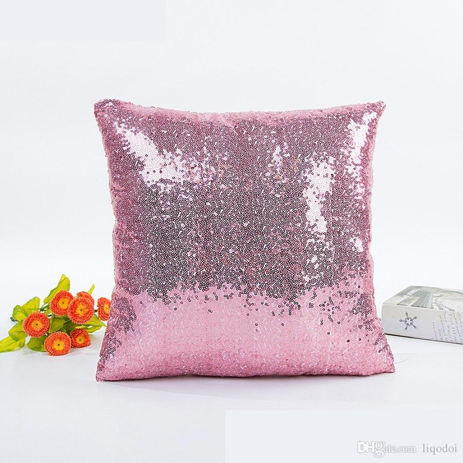 Mermaid Sequin Cushion Cover Glitter Pillow Case Solid Pillow Covers for Home Sofa Car Decoration Pillowcase