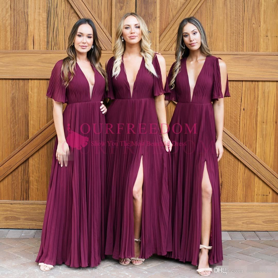 Grape Deep V Neck Chiffon Bridesmaid Dresses for Western Summer Garden Weddings A Line Pleats Split Short Sleeves Maid of Honor Gowns 2019