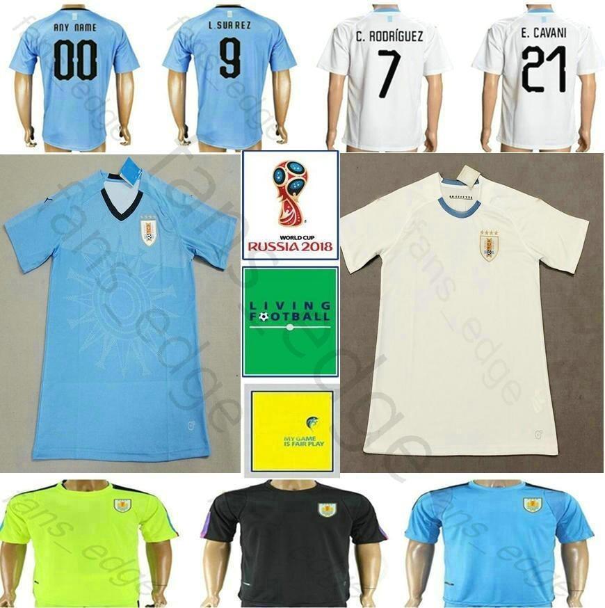 a67395a4a5c4e Copa Mundial De Fútbol Uruguay 2018 Camiseta De Fútbol 9 L.SUAREZ 21  E.CAVANI DE ARRASCAETA GODIN RODRIGUEZ MAINDEZ Camiseta De Fútbol De  Visitante Blanca A ...