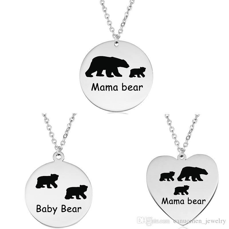 Mama Bear Baby Bear Pendant Necklace Stainless Steel Laser Engraving Silver  Jewelry Mother Son Daughter Kids Gift for Children Wholesale