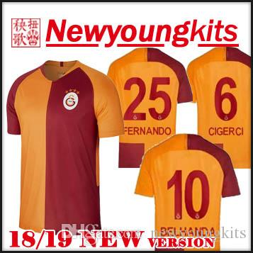 2019 2018 19 Galatasaray Home Soccer Jersey 18 19 Yellow Turkey GOMIS Football  Uniforms CIGERCI BELHANDA FERNANDO FEGHOULI Soccer Shirt From Newyoungkits 3b71667ab