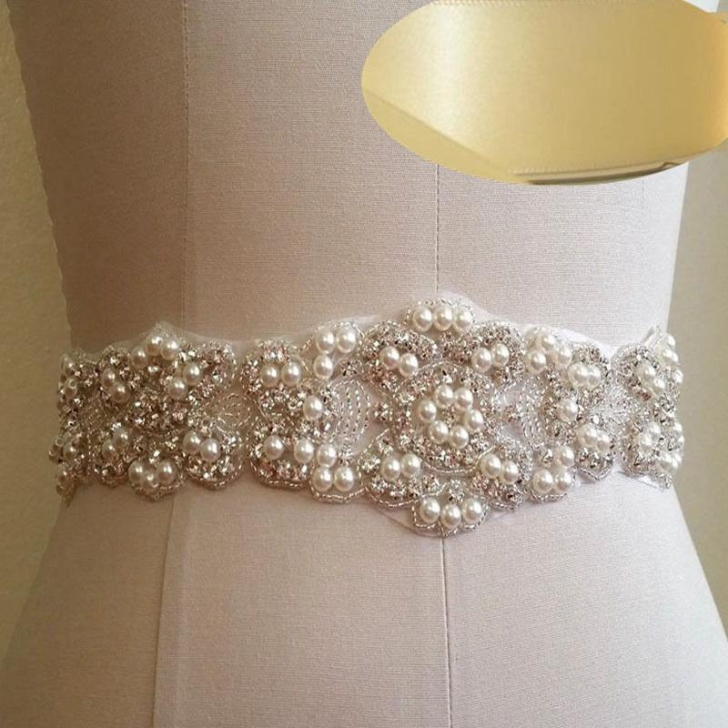 JLZXSY Wedding Bridal Sash Belt Pearl Crystal Bridal Sash Belt With  Ribbon22x2.2inches Conveyor Belt Belts From Sisan08 7d53938bb5db
