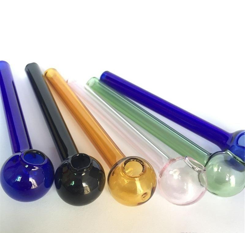 Yüksek Kalite 100mm Renkli Pyrex Cam Yağı Brülör Borusu Cam Tüp Yağ Yakma Borusu somking borular cam yağ çivi stokta