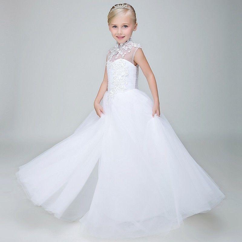 Acheter Vintage Flower Girl Dress Pour Mariage Long 2018 Col Haut Dentelle  Fille Robe De Soirée Robe Enfants Première Communion Robes Blanc De  93.86  Du ... 52851c12e63