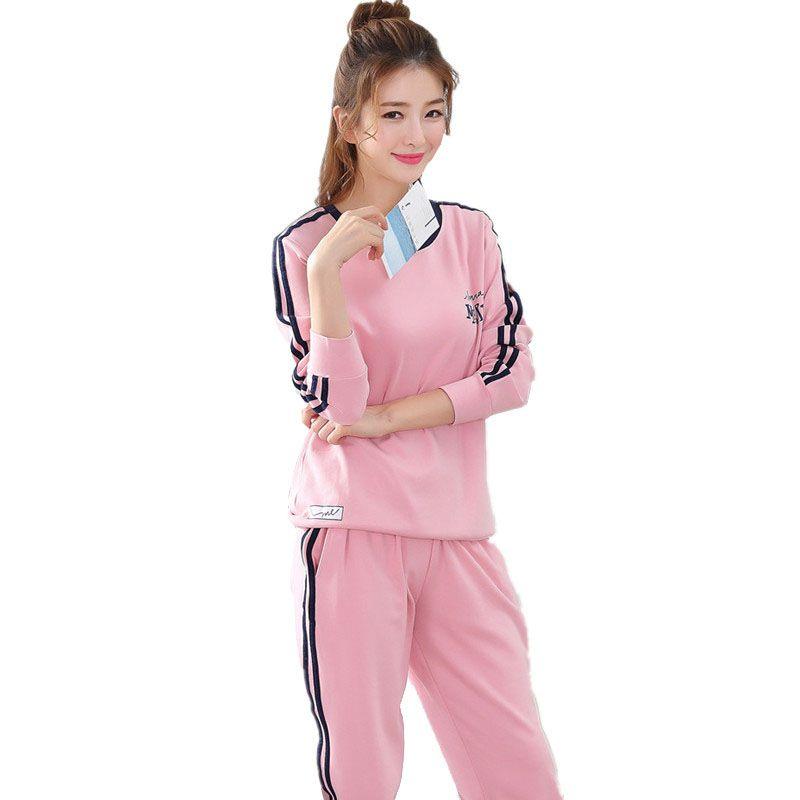 Sleeve Long Cotton Pajamas Women Sleepwear Soft Ladies For 2019 wvU7a
