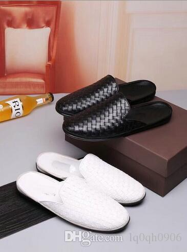 0f90302e6c00a Genuine Leather Men s Casual half Slippers shoe Weave Knit designer name  brand Male leisure moccasins Sandals size 38-44